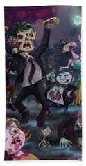 Hand Towel featuring the digital art Cartoon Zombie Party by Martin Davey