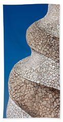 Casa Mila Abstract Chimney Detail In Barcelona Hand Towel