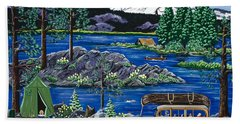 Bath Towel featuring the painting Cascade Lake Sparks by Jennifer Lake