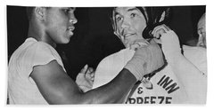 Cassius Clay And Johansson Hand Towel
