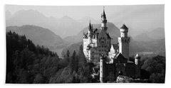 Castle On A Hill, Neuschwanstein Hand Towel