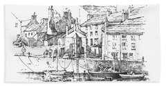 Bath Towel featuring the drawing Castletown Harbour by Paul Davenport