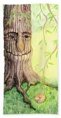 Cat And Great Mother Tree Hand Towel by Keiko Katsuta