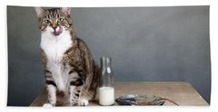 Cat And Herring Bath Towel