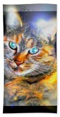 Hand Towel featuring the digital art Cat by Daniel Janda