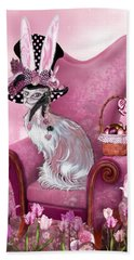 Cat In Mad Hatter Hat Hand Towel