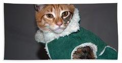 Cat In Patrick's Coat Hand Towel