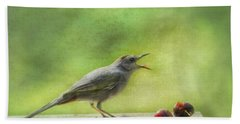 Catbird Eating Cherries Hand Towel