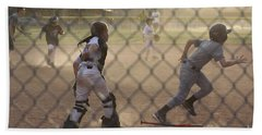 Catcher In Action Hand Towel by Chris Thomas