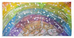 Hand Towel featuring the painting Catching A Rainbbow by Kathy Marrs Chandler
