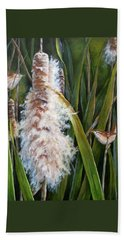 Cattails And Wrens Hand Towel