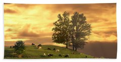 Cattle On A Hill Hand Towel by Randall Branham