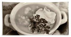Cauliflower Soup Sepia Tone Hand Towel by Iris Richardson