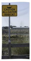 Caution Alligator Habitat Hand Towel