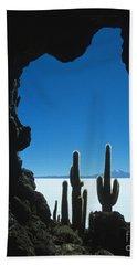 Cave And Cacti Incahuasi Island Bath Towel