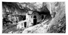 Bath Towel featuring the photograph cave church on Mt Olympus Greece by Nina Ficur Feenan