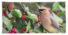 Cedar Waxwing In Holly Tree Bath Towel