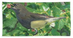 Cedar Waxwing Eating Mulberry Hand Towel