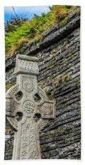 Celtic Cross At Kilmurry-ibrickan Church Bath Towel