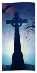 Celtic Cross With Swarm Of Bats Bath Towel