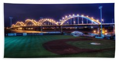 Centennial Bridge And Modern Woodmen Park Hand Towel