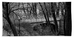 Central Park 2 Black And White Hand Towel