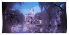 Central Park Lake Willows Color Hand Towel
