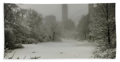 Hand Towel featuring the photograph Central Park Snowstorm by Chris Lord
