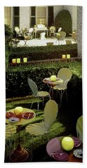 Chairs And Tables In A Garden Bath Towel