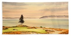 Bath Towel featuring the painting Chambers Bay Golf Course Hole 15 by Bill Holkham