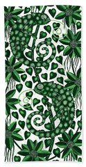 Chameleons Tall, 2013 Woodcut Hand Towel