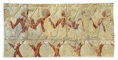 Chapel Of Hathor Hatshepsut Nubian Procession Soldiers - Digital Image -fine Art Print-ancient Egypt Hand Towel