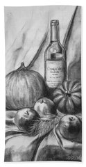 Bath Towel featuring the drawing Charcoal Still Life Harvest by Dee Dee  Whittle