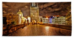 Charles Bridge At Night Hand Towel