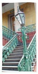 Charleston Aqua Teal French Quarter Staircase - Charleston Architecture  Hand Towel