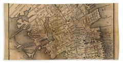 Hand Towel featuring the painting Charleston Vintage Map No. I by James Christopher Hill