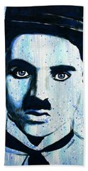 Hand Towel featuring the painting Charlie Chaplin Little Tramp Portrait by Bob Baker