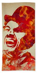 Charlie Chaplin Watercolor Painting Bath Towel by Georgeta Blanaru