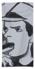 Hand Towel featuring the painting Charlie Sheen by Kathy Marrs Chandler