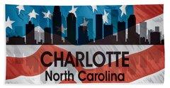 Charlotte Nc American Flag Squared Hand Towel