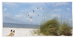 Chasing Gulls Hand Towel by Jan Amiss Photography