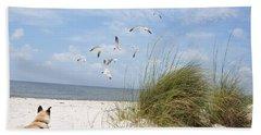 Chasing Gulls Bath Towel by Jan Amiss Photography
