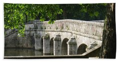 Bath Towel featuring the photograph Chateau Chambord Bridge by HEVi FineArt