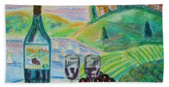 Chateau Wine Hand Towel by Diane Pape