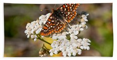 Bath Towel featuring the photograph Checkerspot Butterfly On A Yarrow Blossom by Jeff Goulden