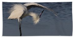Checking For Leaks - Reddish Egret - White Form Bath Towel