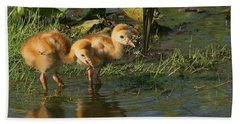 Checking On The Babies Hand Towel by Myrna Bradshaw