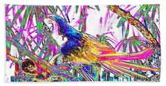 Cheerful Parrot. Colorful Art Collection. Promotion - August 2015 Bath Towel