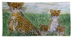 Hand Towel featuring the painting Cheetah And Babies by Kathy Marrs Chandler
