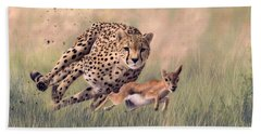 Cheetah And Gazelle Painting Hand Towel